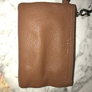 brown leather coach wristlet!!
